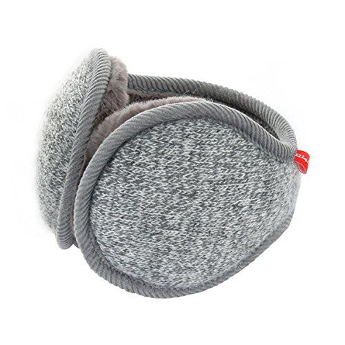 Surblue Unisex Ladies Warm Knit Mink Cashmere Winter Pure Color Earmuffs with Fur Earwarmer Adjustable WrapGreyLarge