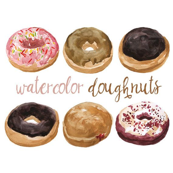 Watercolor Doughnuts Clip Art Bakery by DigitalPressCreation