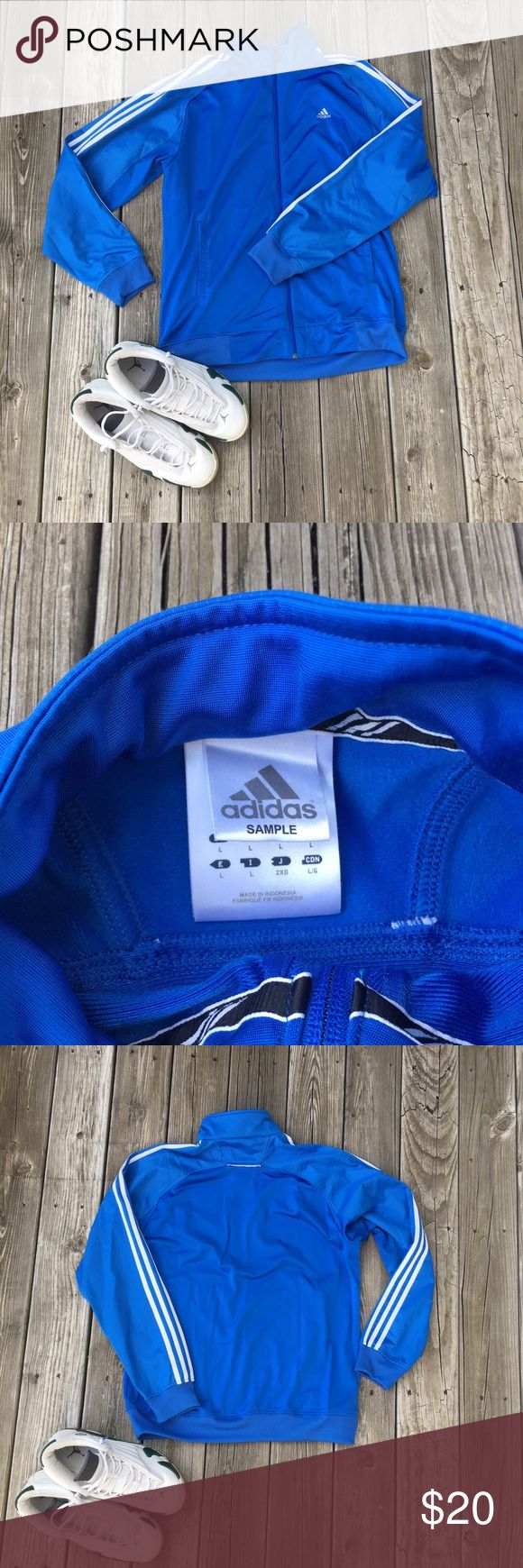 Adidas Bright Blue Zip Up Track Jacket Barely worn, in great condition.  Bundle and save! Make me a reasonable offer, I'm willing to negotiate! adidas Jackets & Coats