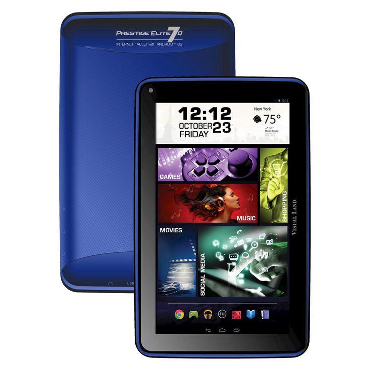 Prestige Elite 7Q 7 QuadCore 8GB KitKat 4.4 Android Tablet, Wifi, 2MP Camera, 1024x600 Touchscreen, Royal Blue