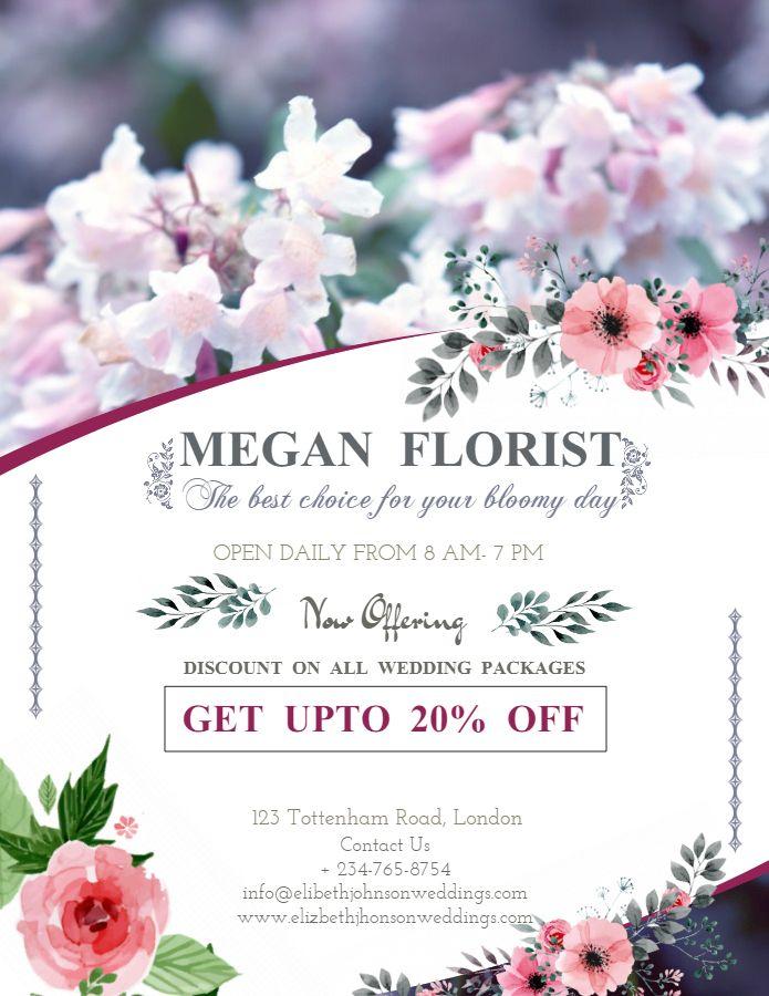 Wedding Florist Service Flyer Poster Design Template Event Planning Flyer Flyer And Poster Design Event Planning
