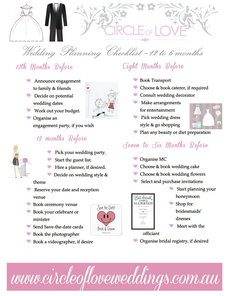 1 wedding planning checklist 12 to 6 months before for What to know about planning a wedding