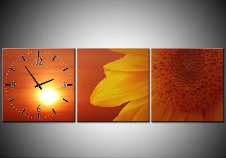 Prachtige Drie Luik Wandklok op canvas Zonnebloem #woondecoratie #klok