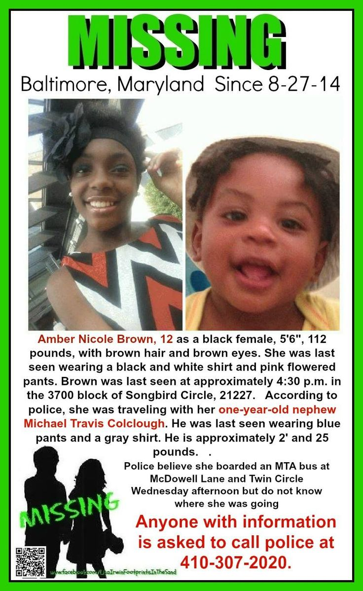 8/27/2014: Amber Nicole Brown (12) along with her one-year-old nephew Michael Travis Colclough are #missing from Baltimore, Maryland.