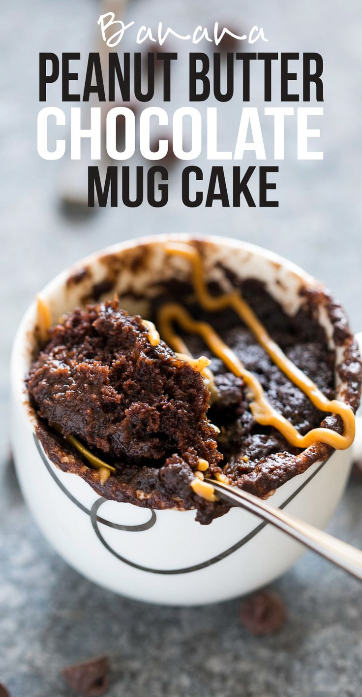 Banana Chocolate Peanut Butter Mug Cake | Microwave Mug Cake Recipe | Eggless Mug Cake | Molten Gooey Egg Free Chocolate Mug Cake | Can be Vegan
