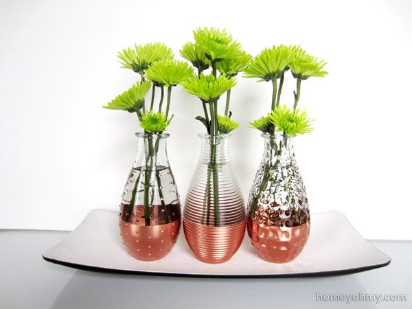 DIY Copper dipped vases - copper is forecast as a big design trend for 2014.  Tutorial at Homey Oh My