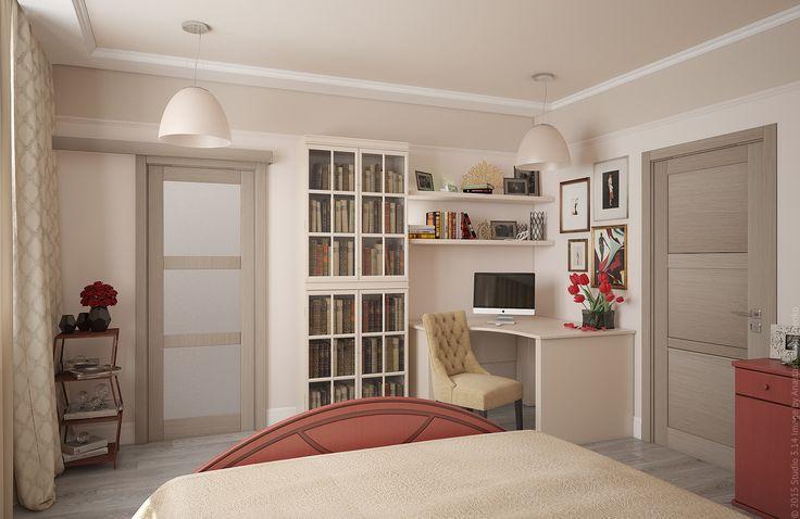 Раздвижная дверь ведет в гардеробную. Такая конструкция дверного проема позволяет экономить пространство.