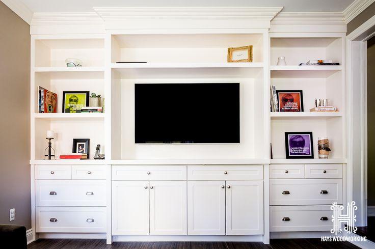Custom shaker built-in entertainment unit – painted CC40 cloud white.  #custom #…