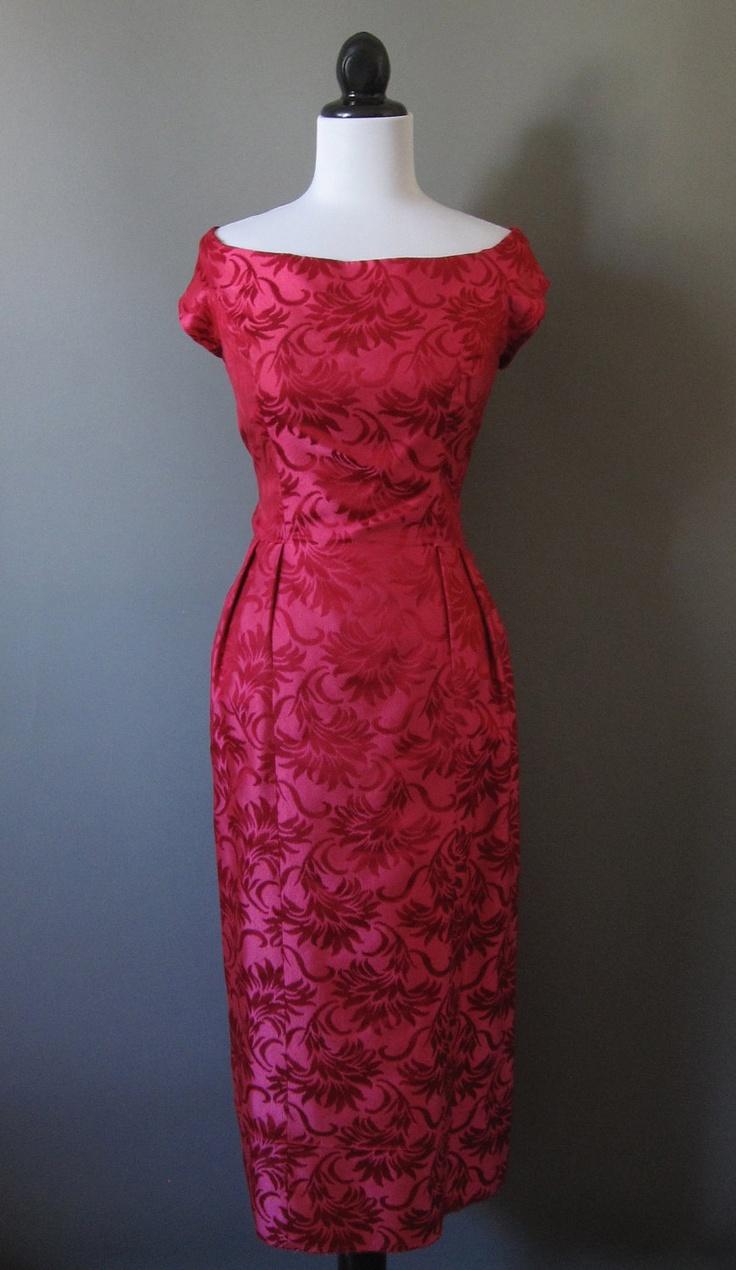 Vintage 1950's Estevez burgundy brocade wiggle dress