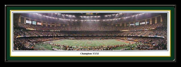 Green Bay Packers panoramic print Super Bowl XXXI Champions poster Green Bay Packers vs. New England Patriots. #SuperBowl #NFLStadiums
