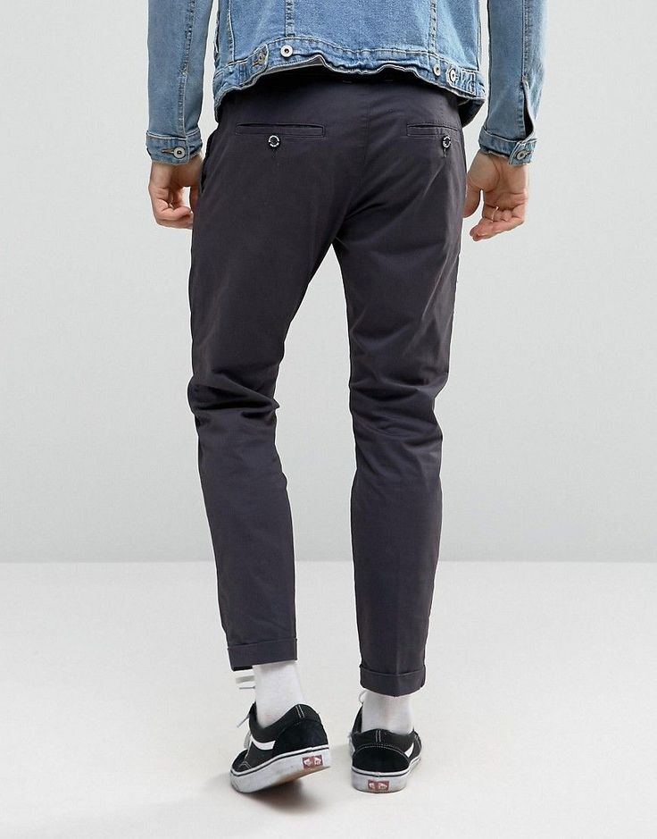 Dr Denim Diggler Tapered Chino With Turn Up - Gray