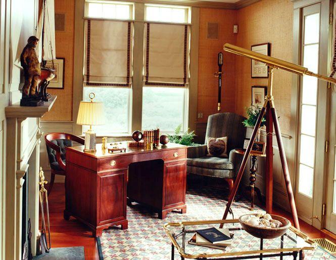 An Office Full Of Old World Charm Seaworthy Nautical OfficeNautical InteriorNautical DesignOffice