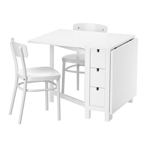 IKEA - NORDEN / IDOLF, Tisch und 2 Stühle, Tisch mit Klappen: bietet Platz für 2-4 Personen, die Tischgröße lässt sich dem Bedarf anpassen.6 praktische Schubladen unter der Tischplatte für Besteck, Servietten, Kerzen usw.