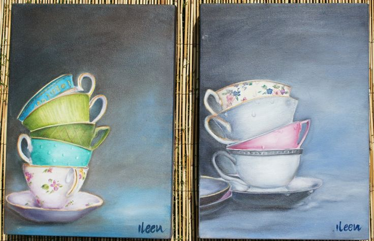 stacked teacups - oil paintings