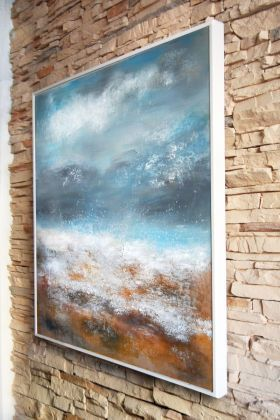 SEASCAPE II - LARGE ORIGINAL HANDMADE SQUARED ABSTRACT MODERN URBAN ART OFFICE ART DECOR HOME GIFT IDEA - FRAMED by VANADA