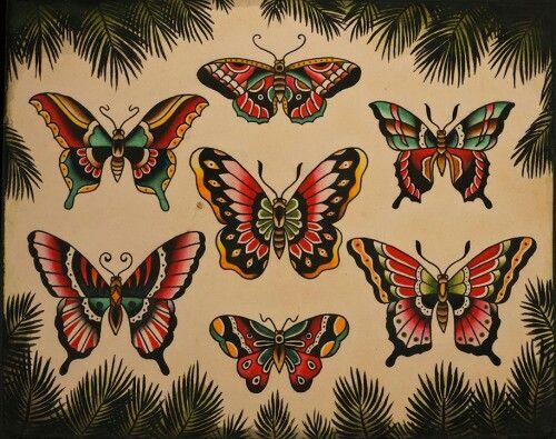 Old School Butterflies! #Old #School #tattoo #butterfly