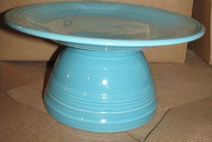 Turquoise Fiesta® Dinnerware Cake Stand ~  This cake stand is made from a Prep Bowl turned upside down and a 11 3/4 inch Chop Plate placed on top | eBay