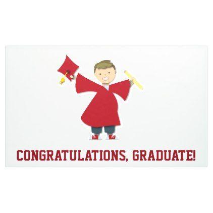 Congratulations Graduate Boy Maroon Cap & Gown Banner - graduation banners grad banner party idea personalize diy cyo
