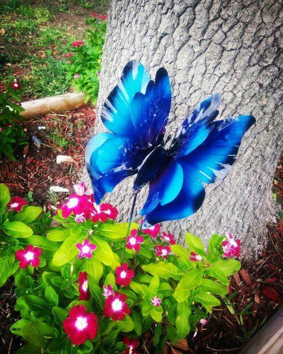 Metal Butterfly Garden Stake Blue Morpho Butterfly Garden Etsy Butterfly Garden Design Yard Art Crafts Butterfly Garden