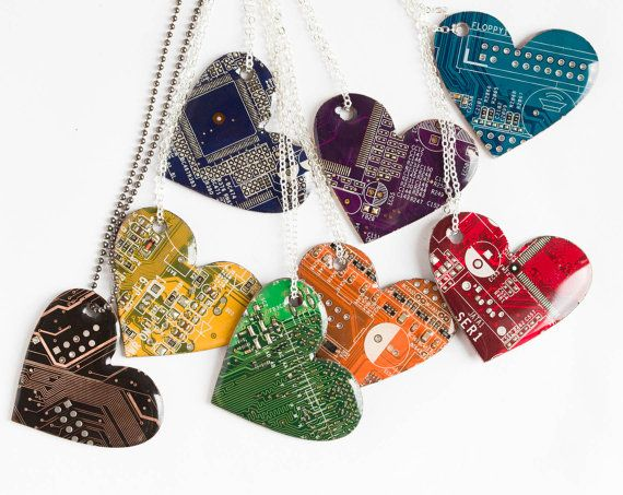 """by ReComputing on etsy. This necklace is made with piece of circuit board that cut in shape of heart. One side is covered with resin, the surface is shiny as glass. The pendant is approx. 35 x 40 mm (1 1/4"""" x 1 1/2"""")."""