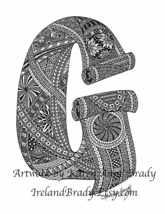 ACEO alfabeto lettera G zentangle doodle monogramma iniziale stampa art di Karen Anne Brady