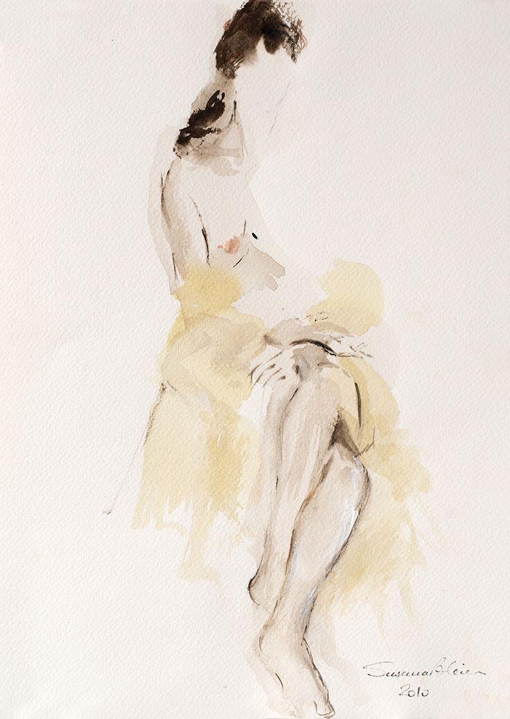 Watercolorist: Susana Bleier / Acuarela sobre papel / Modelo Vivo
