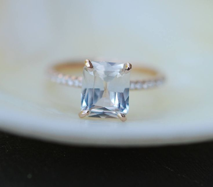 Champagne Engagement Ring 14k Rose Gold Diamond Engagement Ring 2.42ct Cushion Champagne sapphire ring. Engagement