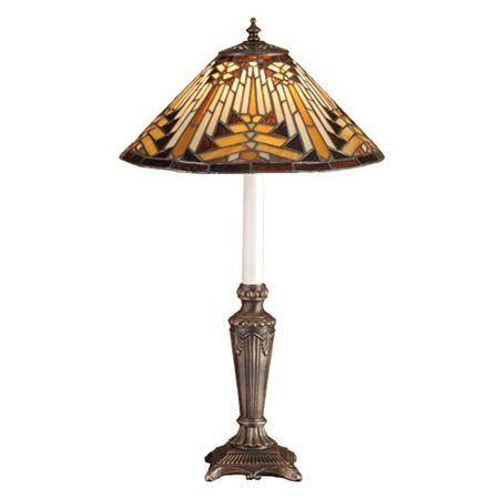 Warm Earth Toned Bone Beige And Moccasin Tan Stained Glass, Accented With Glistening Root Brown And Sage Green, Is Used To Make This Intricate Interlocking Patterned Shade. A Traditional Lamp Base In A Hand Applied Mahogany Bronze Finish Supports The Handsome Round Cone Shade Inspired By Native American Artwork. Handcrafted With The Copper Foil Technique Developed By Louis Comfort Tiffany, This Buffet Lamp Is A True Masterpiece.