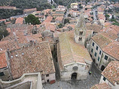 View of the roofs from the tower, Capalbio, Silver Coast, Maremma, Tuscany, Italy