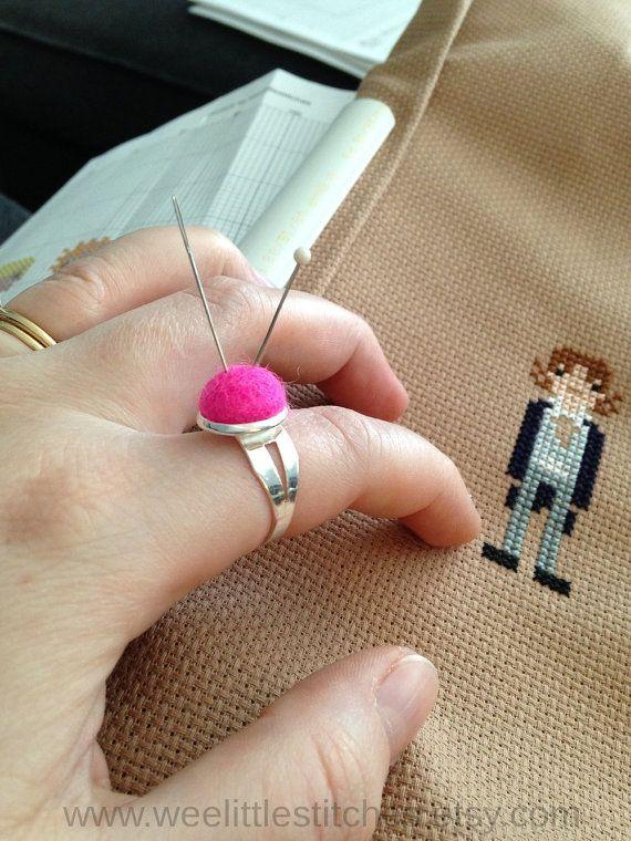 Wool Pincushion Ring - Adjustable