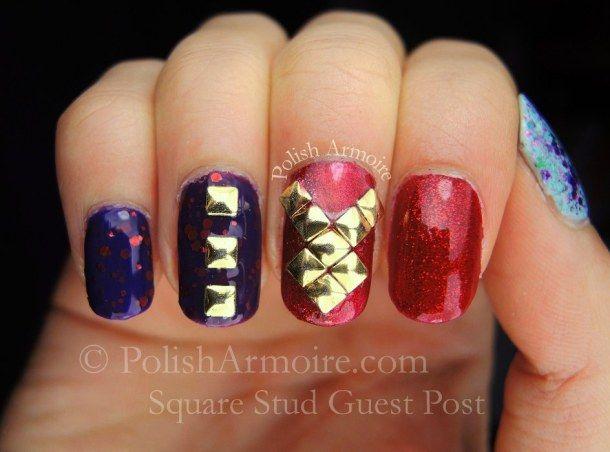 Square Stud Nail Art