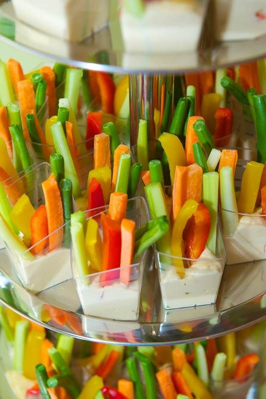 As hard as you tried to avoid it, you were put on the list for veggie tray. Well bring your veggie tray with a bang, and put the vegetables in their own cups with ranch. Not only is the portion size great, but keeping the dressing separate keeps it from getting on other food.