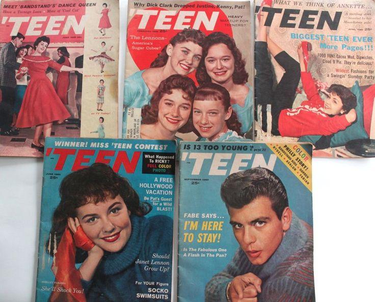 Five Vintage 1959 & 1960 Teen Magazines Lennon Sisters Fabian Shelly Fabares #Teen