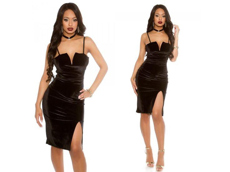 Černé midi šaty Koucla VELVET, RYCHLÉ DODÁNÍ - Bestmoda - black velvet evening party midi dress