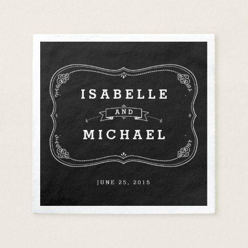 Chalkboard Mason Jar Personalized Wedding Napkin