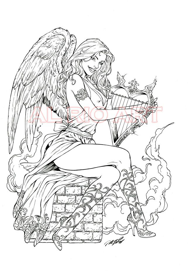 Angel with harp by Al Rio OA by