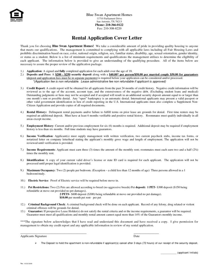 The 25+ best Application letters ideas on Pinterest Cover letter - rental background check