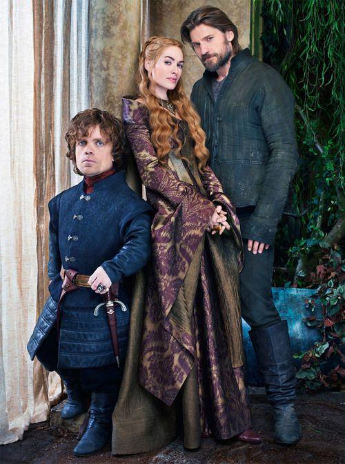 Tyrion Lannister (Peter Dinklage), Cersei Lannister (Lena Headey) & Jaime Lannister (Nikolaj Coster-Waldau)