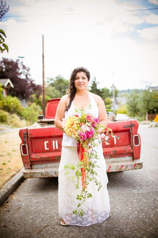 Summer bridal bouquet with dahlias, roses and tomatoes!  Flying Bear Farm + Design Whidbey Island, Washington www.flyingbearfarm.com - Photography by Erinn J Hale Photography