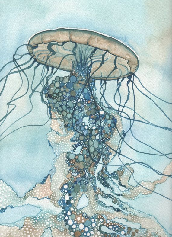 Whimsical Sea Nettle Jellyfish 4 x 6 print of hand painted detailed watercolour artwork in turquoise blue green earth tones. $5.00, via Etsy.