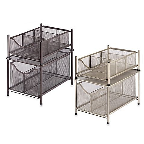 Easily access and organize any cabinet with these .ORG Under the Sink Mesh Slide-Out Storage Drawers. Durably crafted in powder-coated steel, these drawers can be secured to the cabinet with the included hardware.