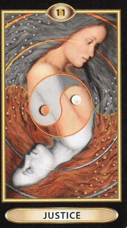 "Tarot-of-Empowerment-Justice shows a yin/yang symbol in the center, over back to back images of a woman reflecting. Empowerment: ""You are empowered by Justice when you make fair decisions based on the rules, no matter the emotions or relationships involved."""