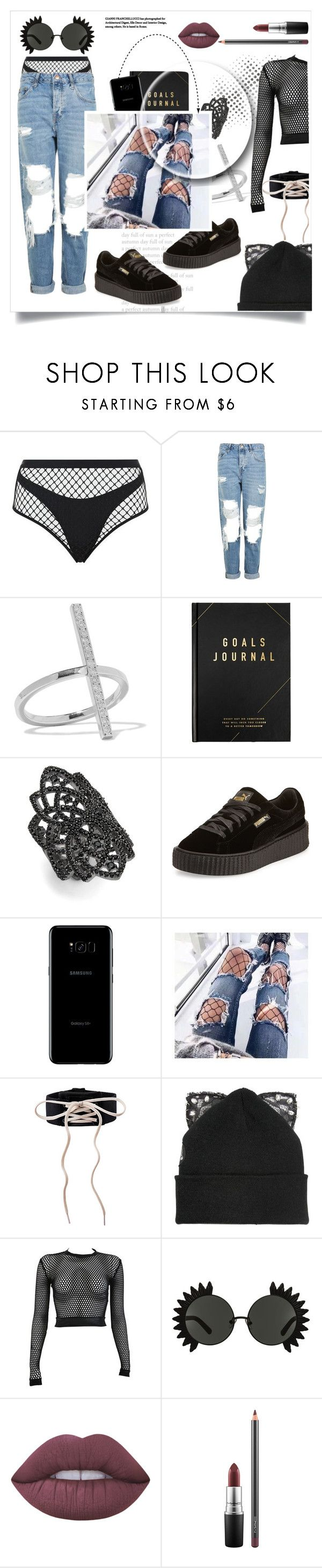 """""""Bad"""" by pretty0329 ❤ liked on Polyvore featuring Agent Provocateur, Topshop, Ileana Makri, kikki.K, nOir, Puma, Samsung, Silver Spoon Attire, PAM and Lime Crime"""