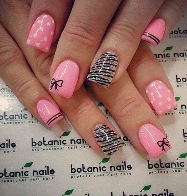 Nails Design Ideas 30 adorable polka dots nail designs 55 Bow Nail Art Ideas
