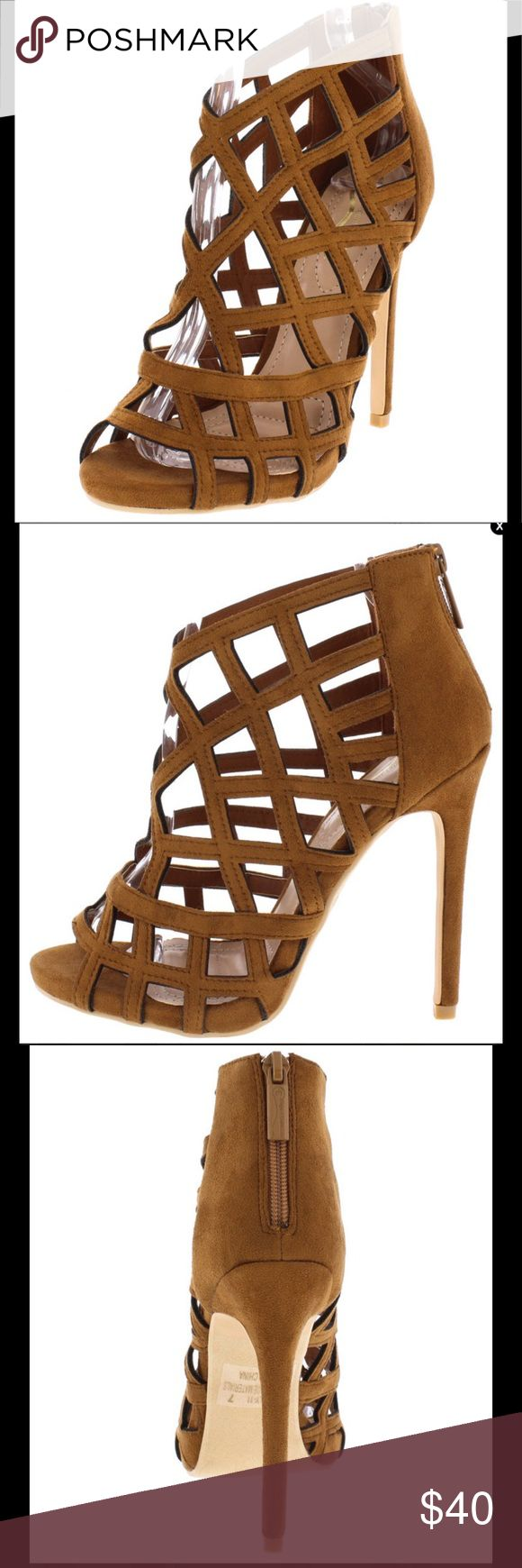 "Camel women's caged sandal Gorgeous caged sandals.  4.5"" heels. Looks great with jeans & just about everything.  Available in camel.  Vegan leather Shoes Sandals"
