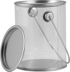 1 QUART SHORT CLEAR PLASTIC CAN WITH EARS, BAIL AND LID | Not designed for liquids, but is FDA approved to store food. These decorative cans are mostly used for arts, crafts, decoration, party favors, and storage. #paint #can #plastic #clear #food