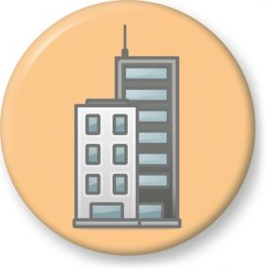 Vector clip art of blue reflective glass tower block - Button Badge - Brooch - Gift