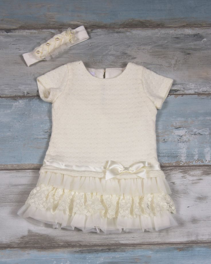 Wool ivory dress with tulle & lace finish & ivory bow | Maching headband with small flowers decorated with a pearls