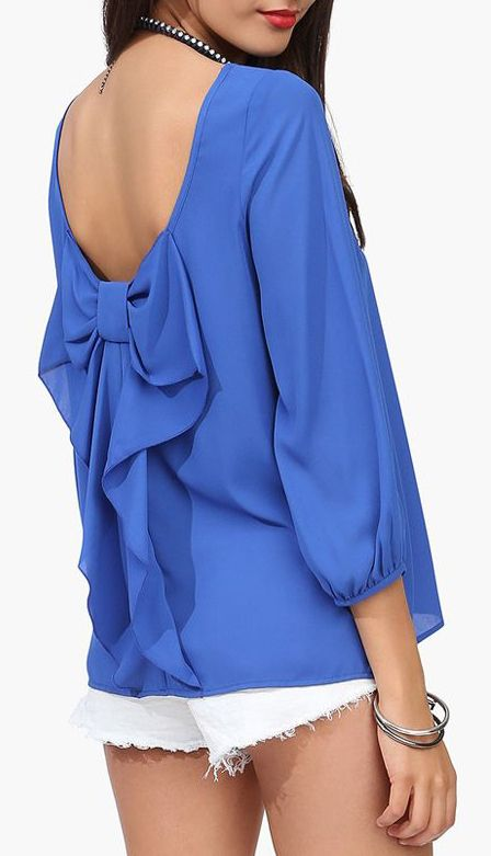 Blue Bow Back Top