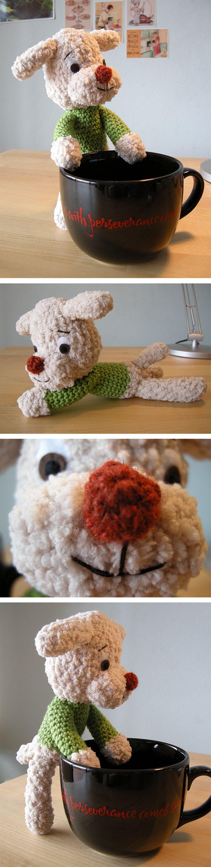 Super cute puppy dog, soft plushie amigurumi. Pattern from a Japanese amigurumi book.